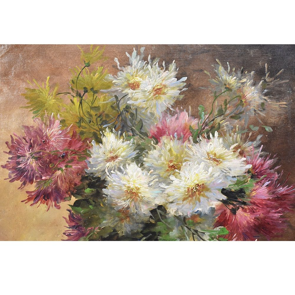 A antique flower painting oil painting flower canvas painting XIX century.jpg