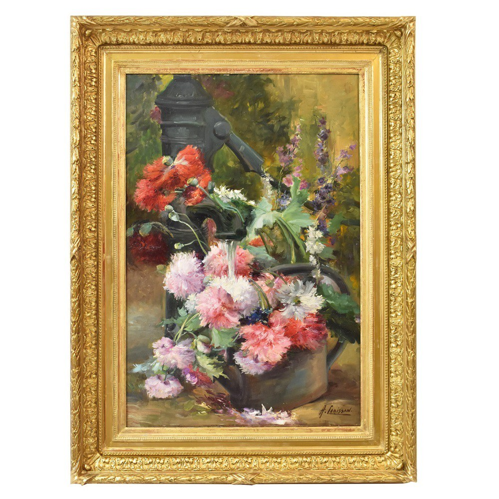 flower painting oil on canvas 1800 golden frame.jpg