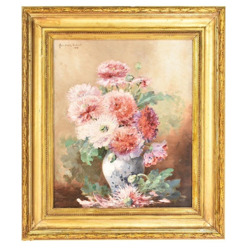 oil on canvas, flowers painting, XIX century