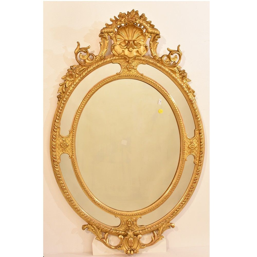 A antique gilt mirror oval wall mirror elegant gilded round mirrors 19th century2