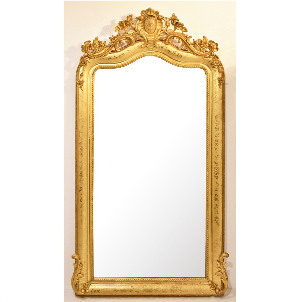 A antique glass gold wall mirror elegant mirror gilt framed mirror 19th century.jpg