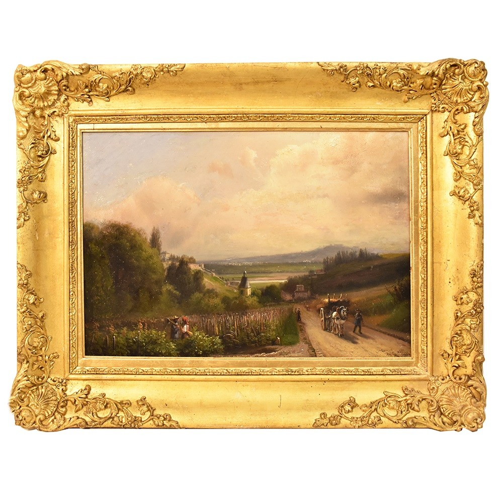A antique landscape nature painting oil painting scenery art 19th century copia