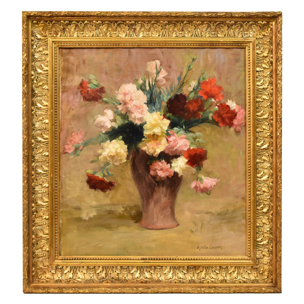 A antique painting flower painting floral canvas painting carnations oil flowers 19th century.jpg