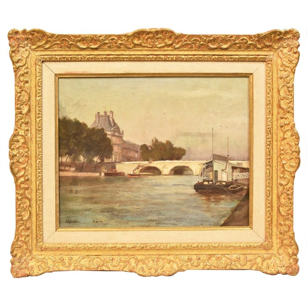 A antique painting pont neuf paris landscape painting oil painting on canvas 19th 1800s century.jpg