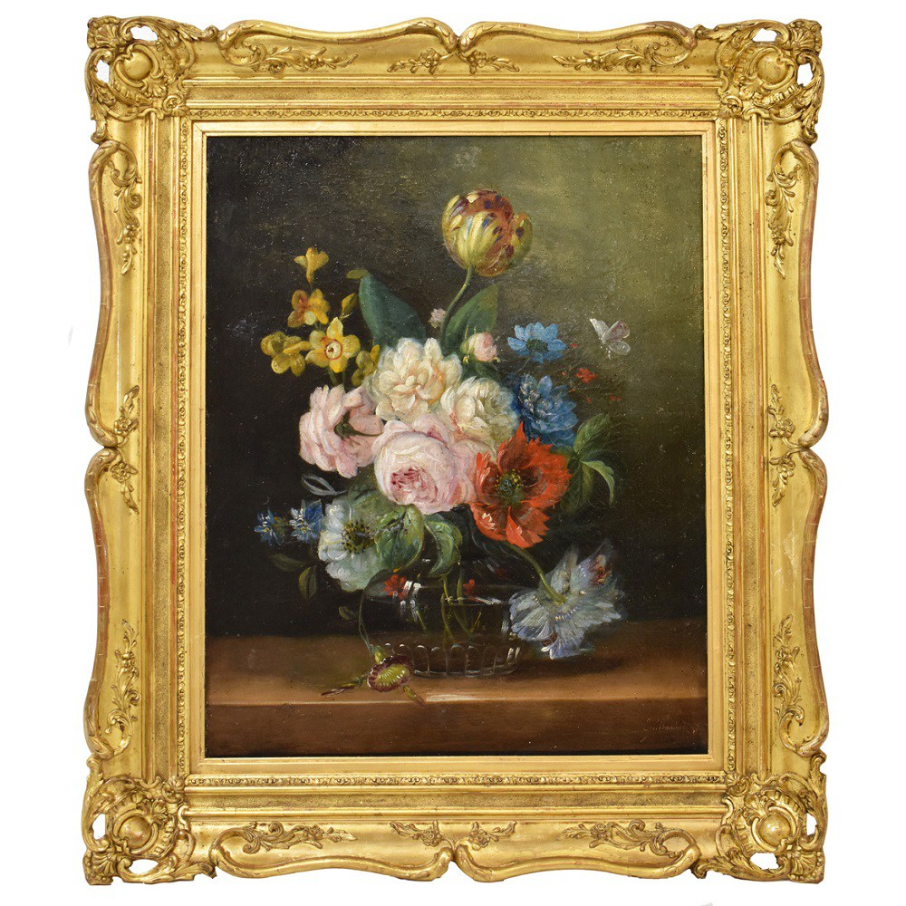 A flower canvas painting flower art work floral art painting oil painting of flowers in vase 1800.jpg