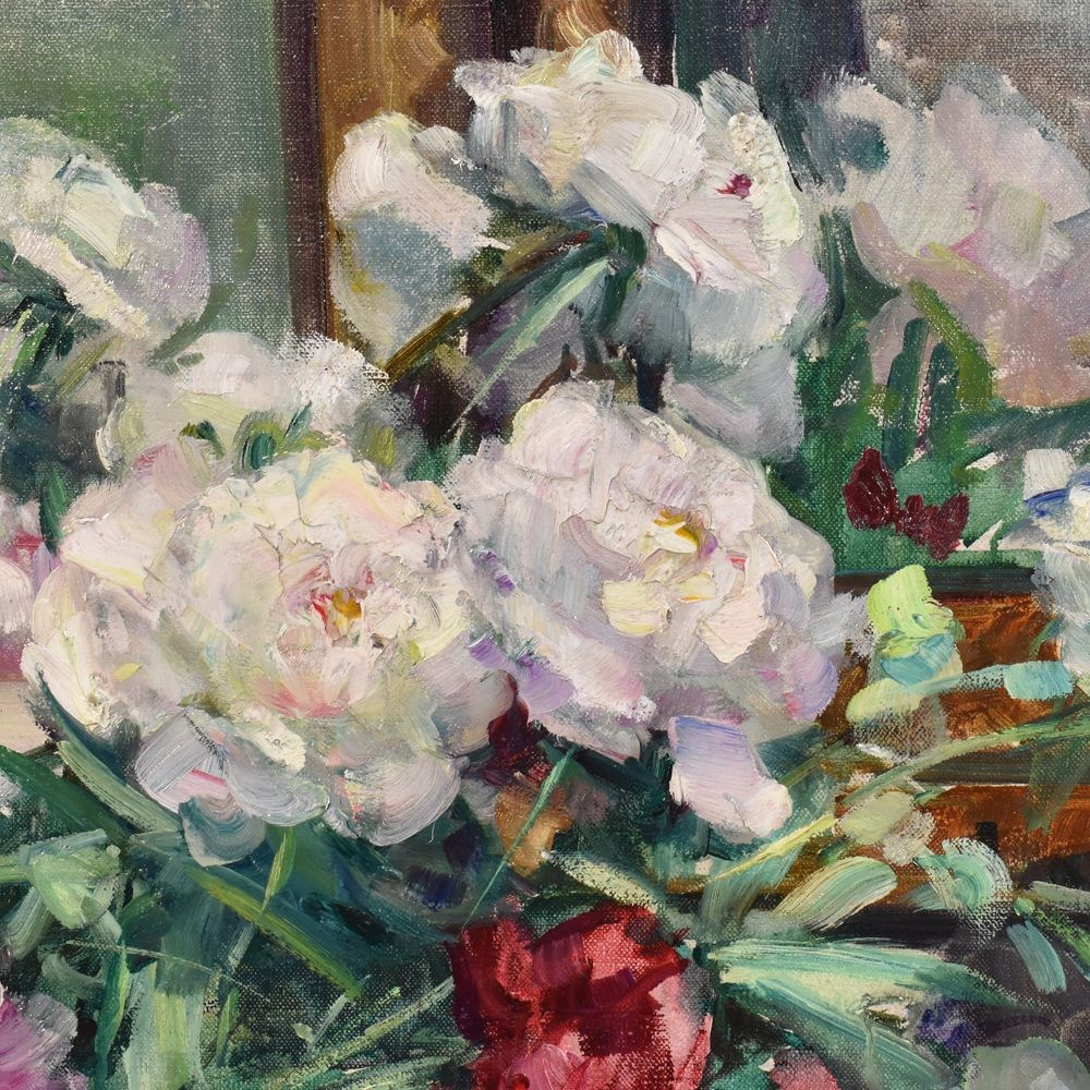 A flower painting floral oil painting flower vase painting original painting floral canvas peonies 20th century4