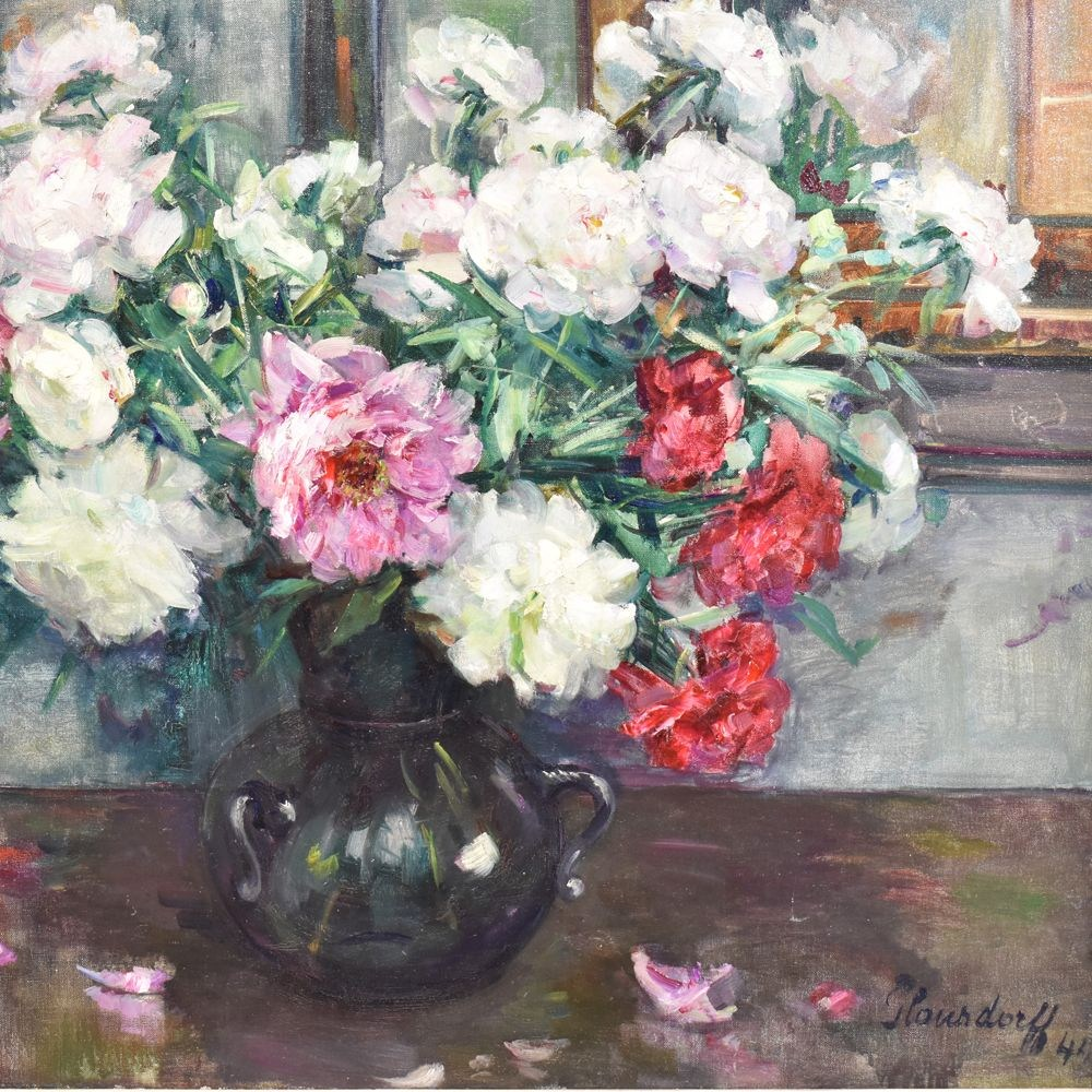 A flower painting floral oil painting flower vase painting original painting peonies 1900s century8