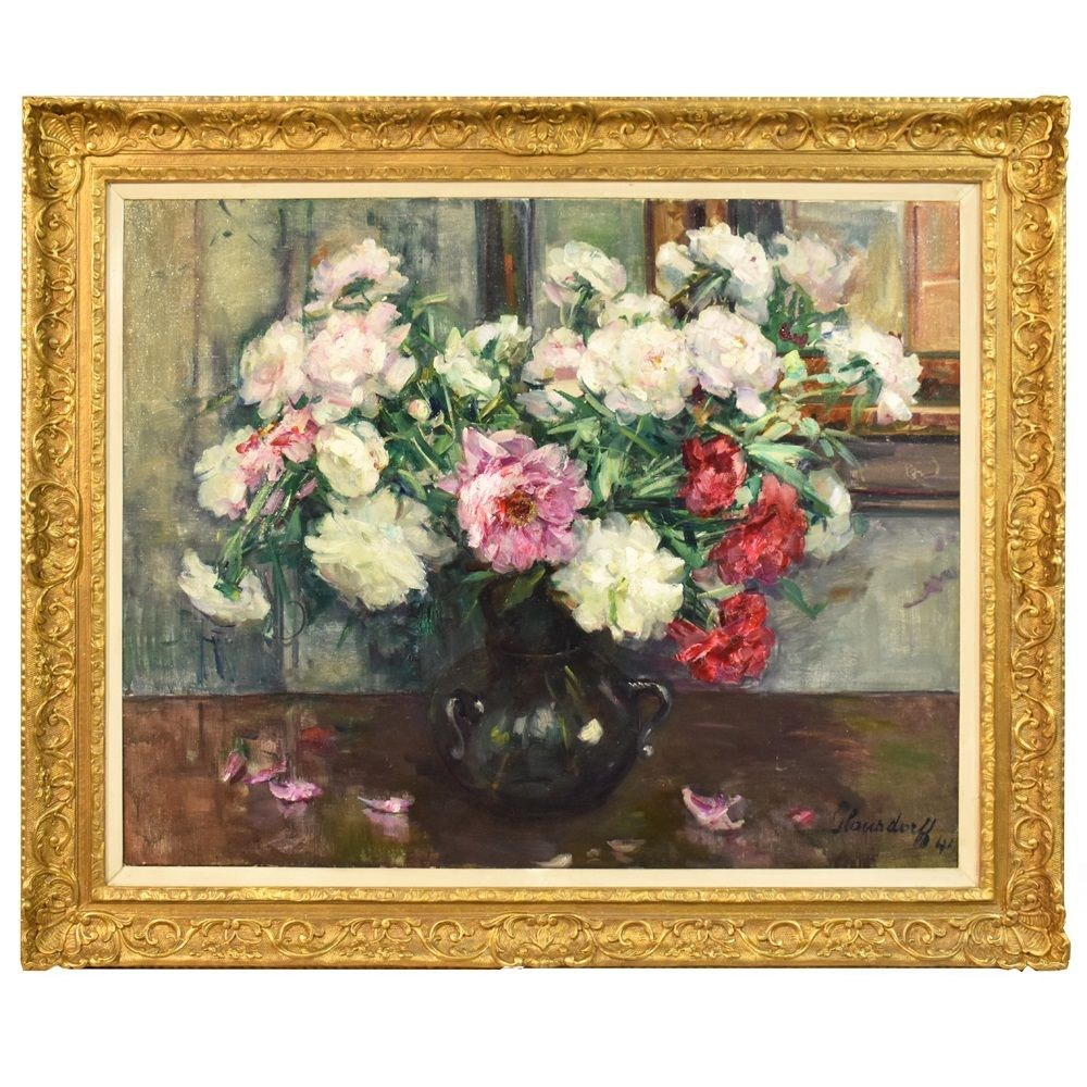 A flower painting floral oil painting flower vase painting vase of flowers painting peonies 20th century picture art4