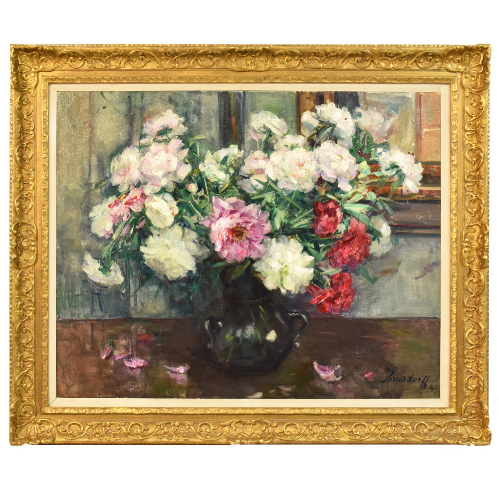 A flower painting floral oil painting flower vase painting vase of flowers painting peonies 20th century picture art