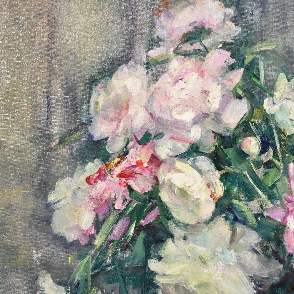 A flower painting floral oil painting still life painting  flower vase painting antique painting peonies 1900s century5