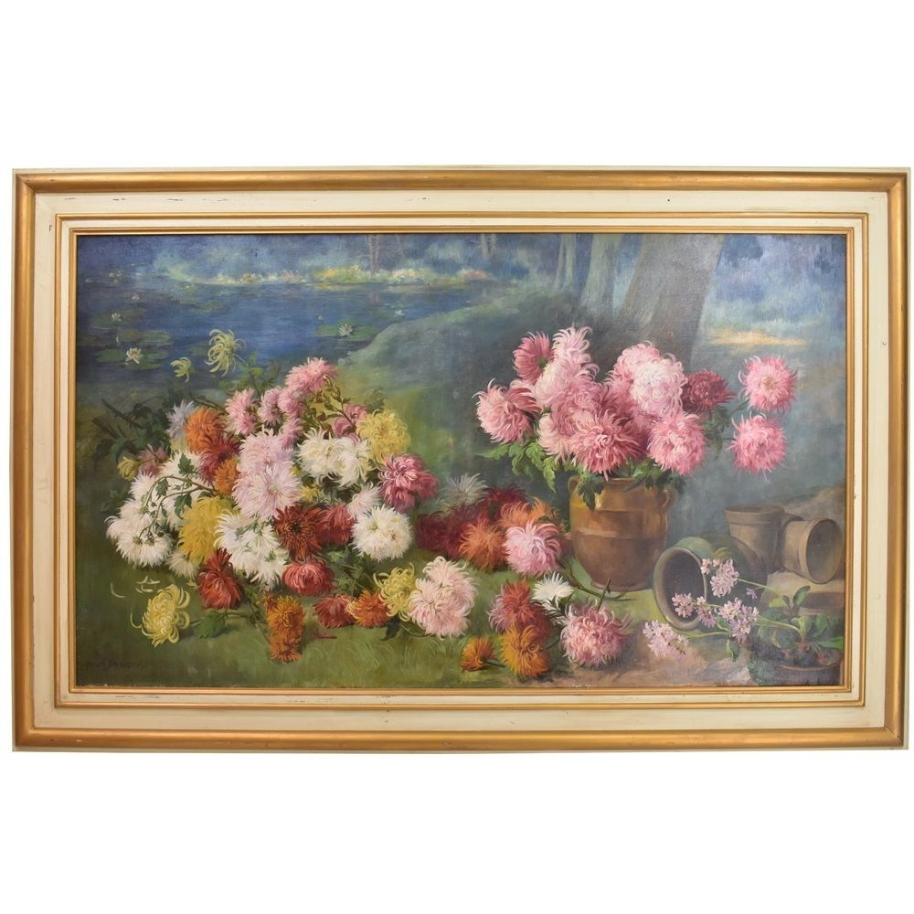 A flower painting large flower painting oil painting on canvas peonies and Water Lilies  19th century.jpg