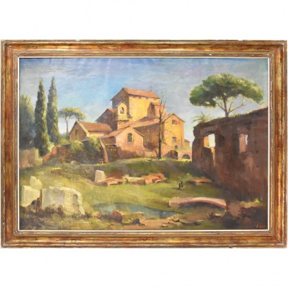 A landscape painting monastery church rome painting oil on canvas 20th century.jpg