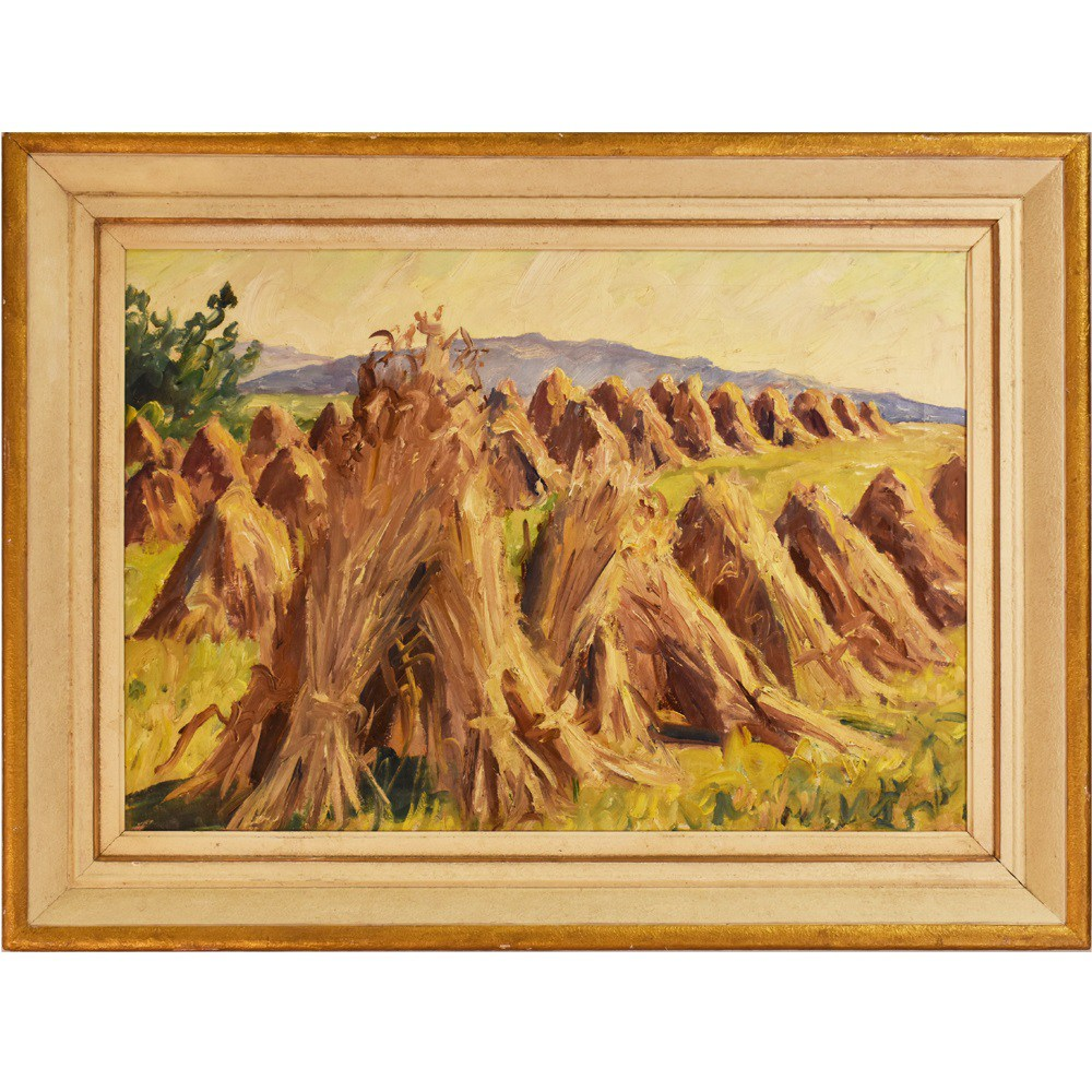 A landscape painting sheaves painting oil on canvas 20th century.jpg