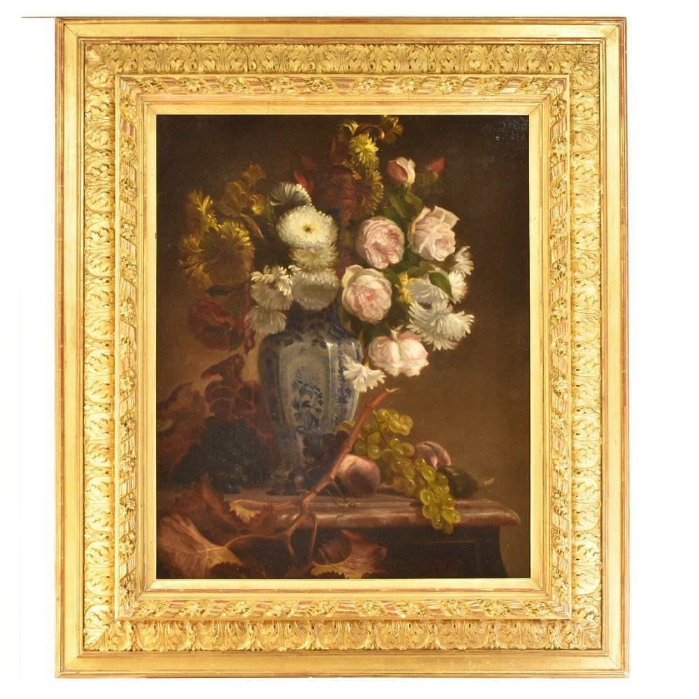 A old painting flower painting roses daisies dahlias oil painting flowers 19th century.jpg