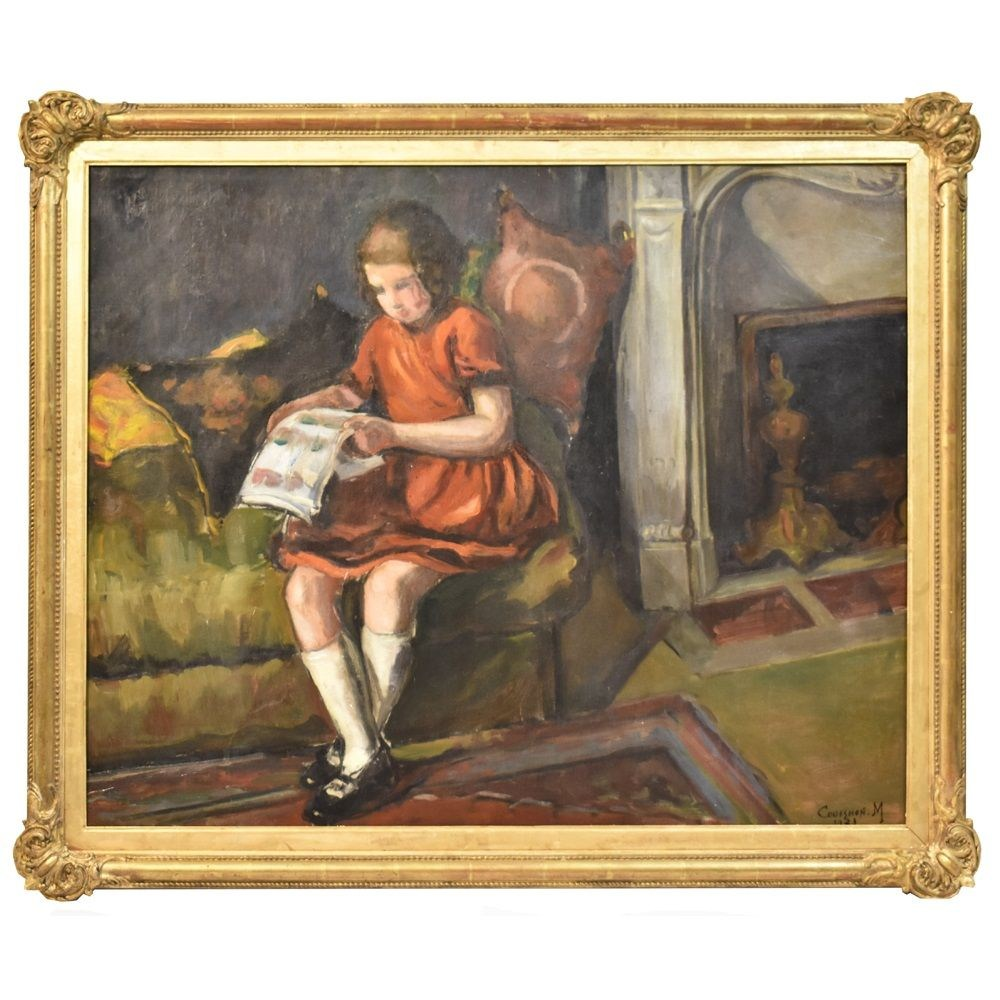 A portrait painting art deco child portrait oil painting oil on canvas 20 th century 1930.jpg