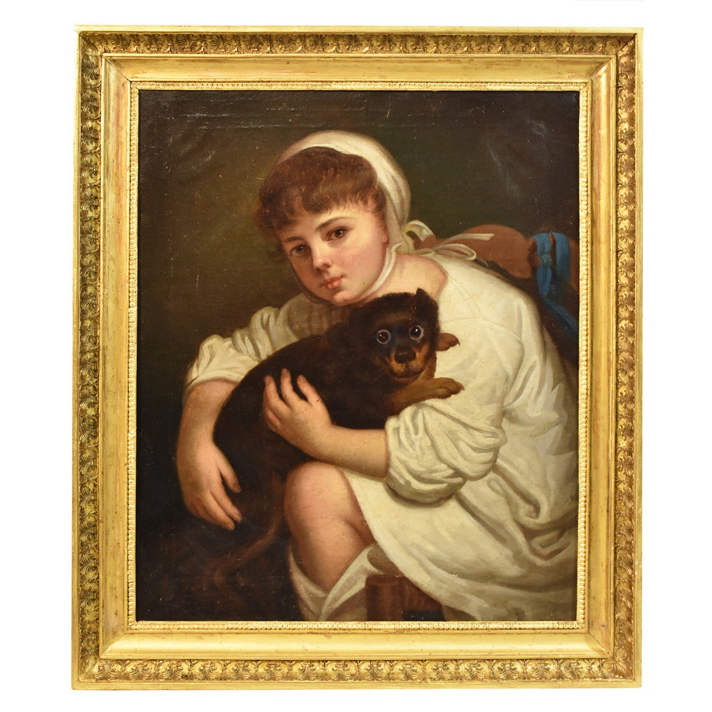 A portrait painting canvas portrait painting girl with dog antique painting 19th century.jpg