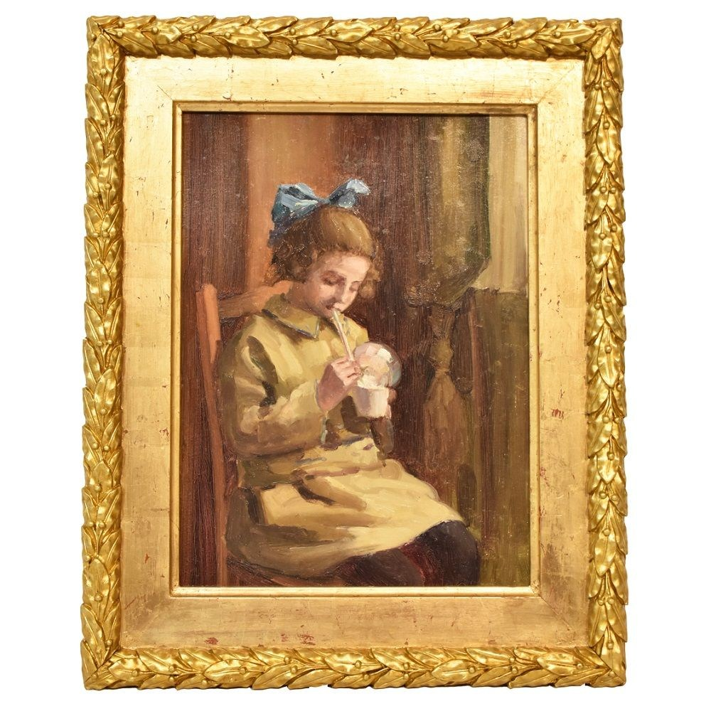 A portrait painting oil on canvas girl portrait painting antique painting 20th century.jpg
