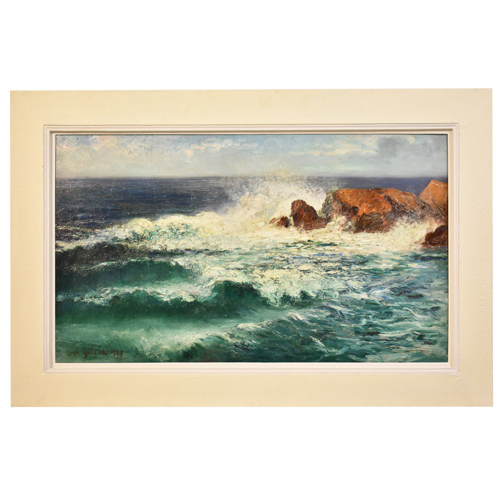 A seascape painting canvas painting oil painting 20th century art deco scenery art painting 1930.jpg