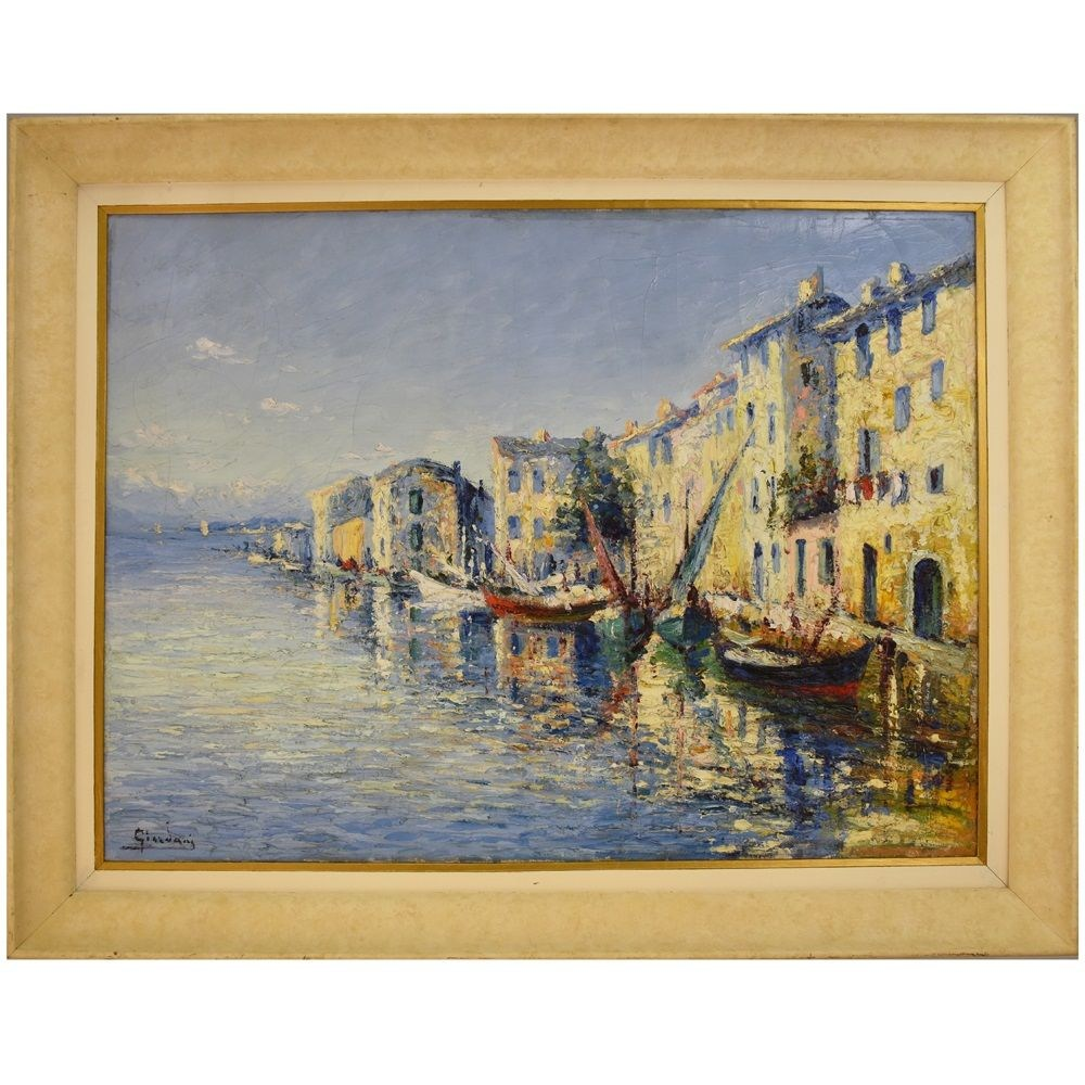 A seascape painting seascape oil painting martigues oil on canvas antique painting 20th century.jpg