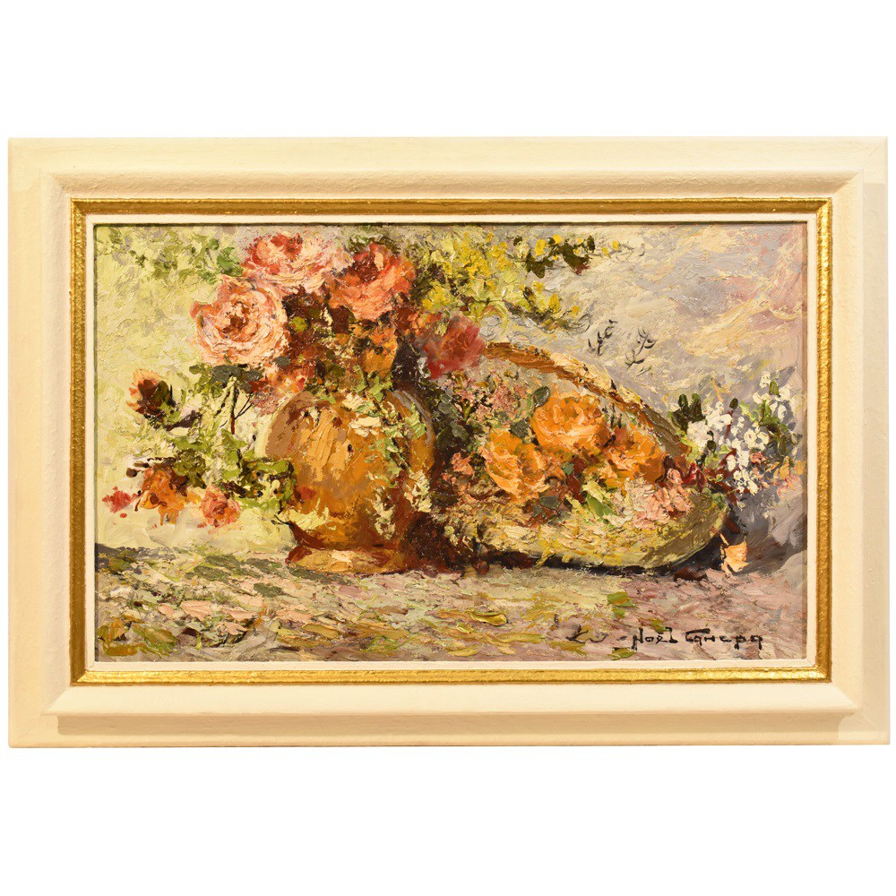 A still life painting flower painting floral oil painting flower vase painting art 20th century.jpg
