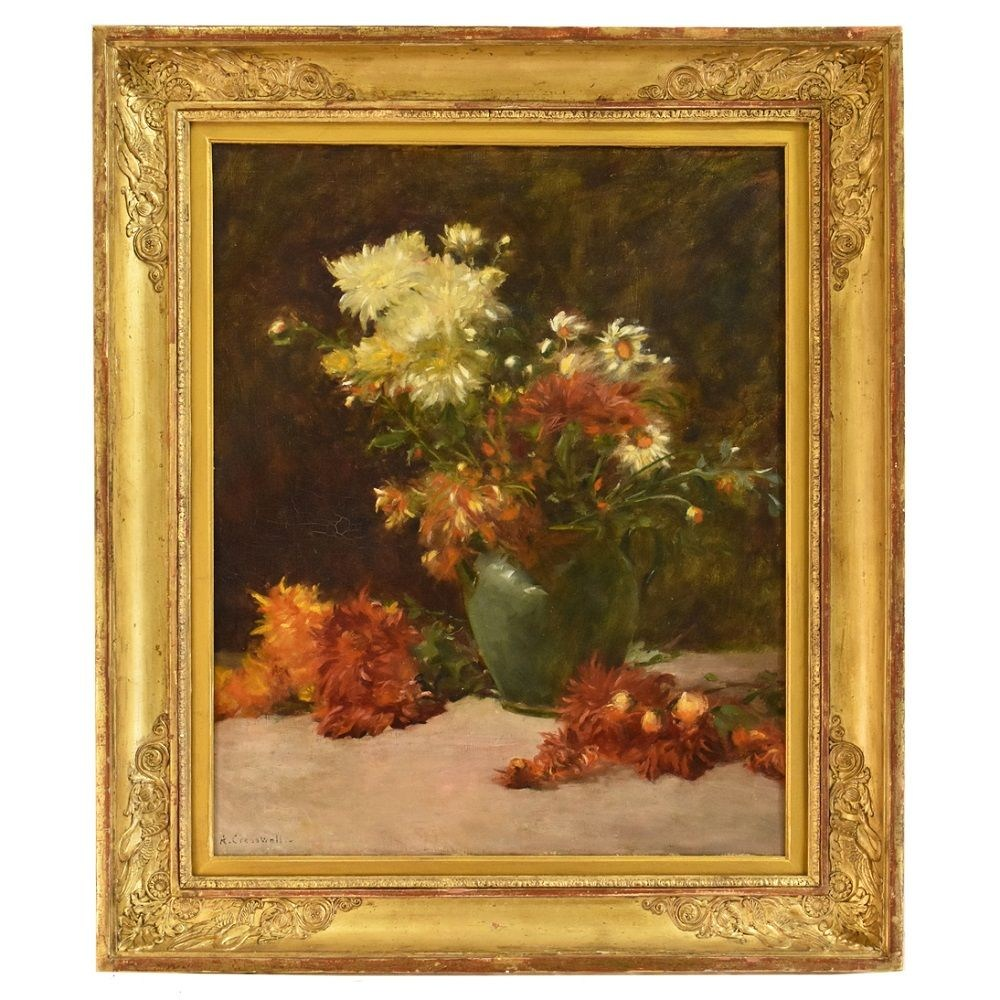 A white and red dahlias flower painting antique oil painting 19th century.jpg