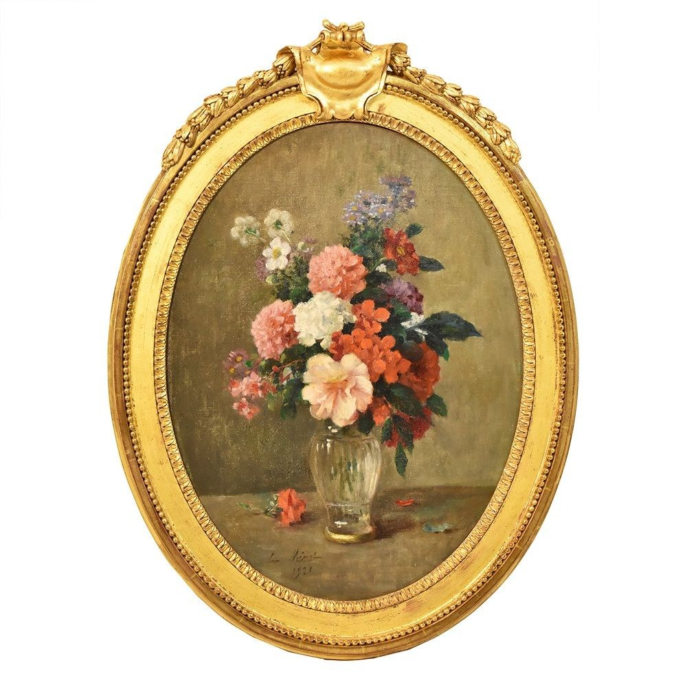 QF1-259 flower painting art déco vase of flowers painting antique painting 20th century.jpg