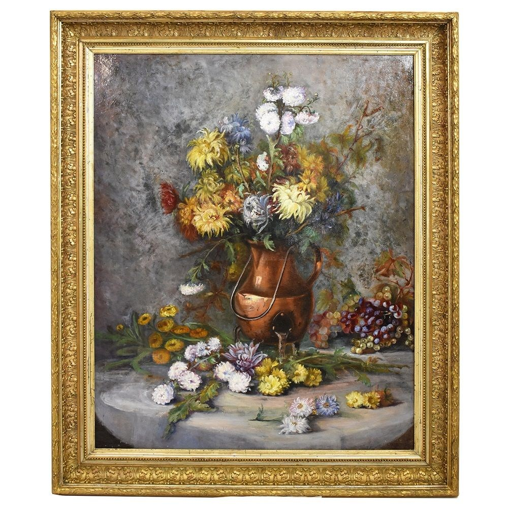 A antique painting oil painting flowers floral canvas paintings 19th century.jpg