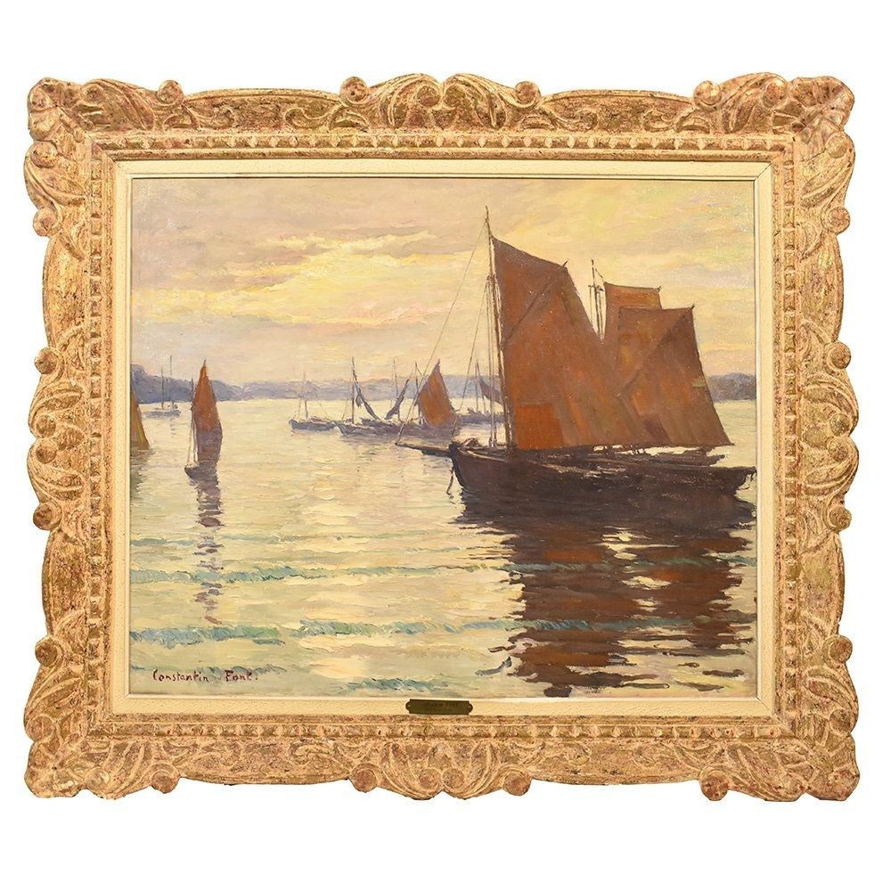 QM284 old oil paintings seascape painting marine art XX century.jpg