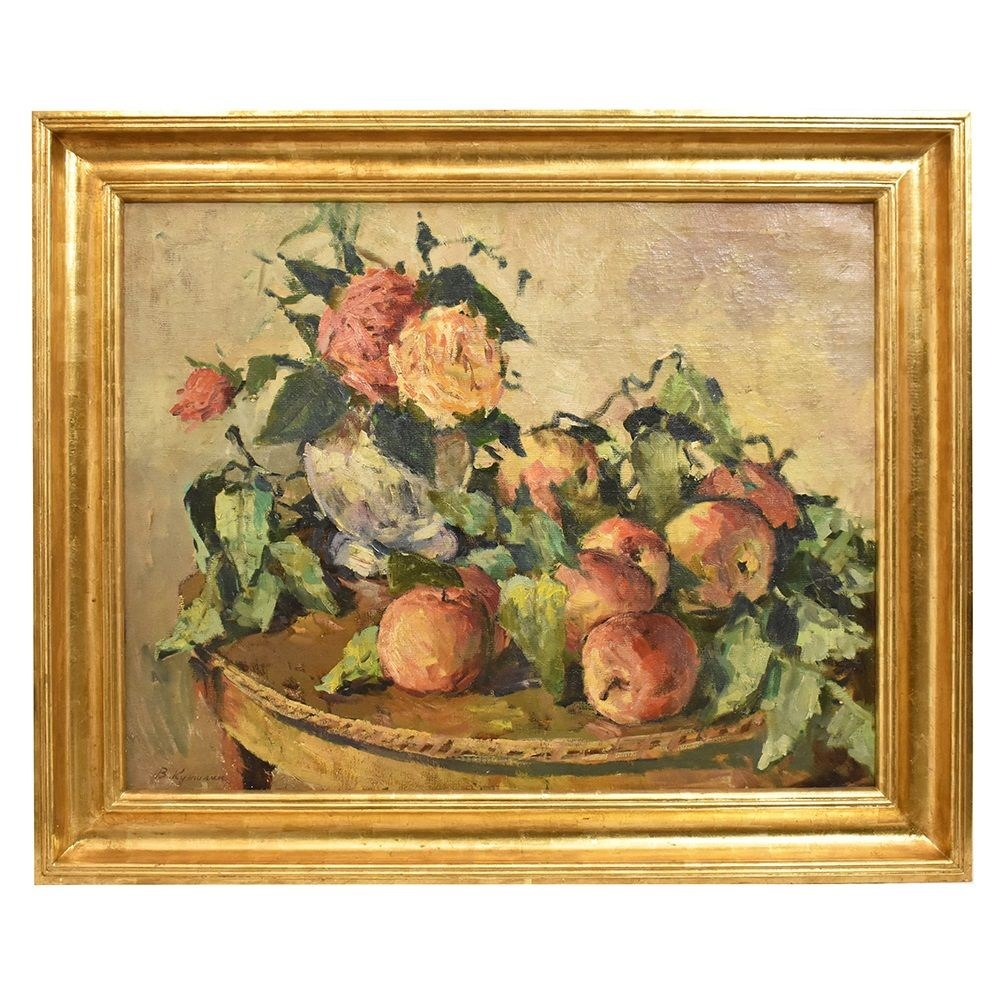 QNM250 antique still life painting oil painting on canvas flower painting 20th century.jpg_1