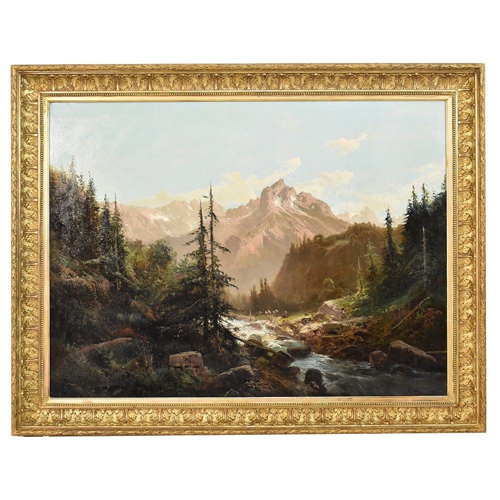 QP261 antique painting mountain landscape painting nature painting XIX century.jpg