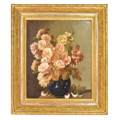 roses painting flowers pinting antique painting oil on canvas